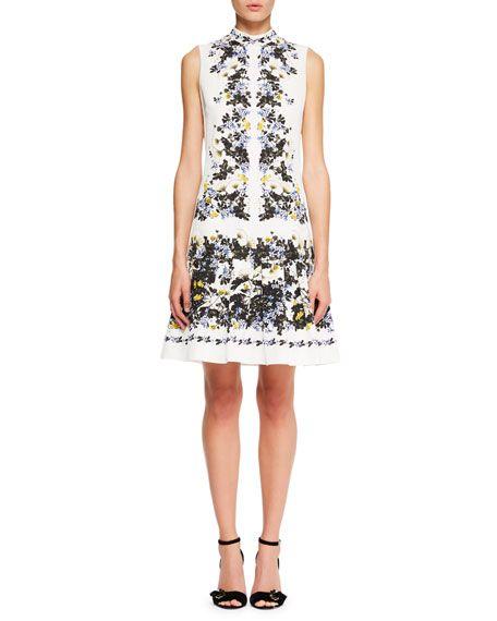 Windsor Sleeveless Floral-Print Wallpaper Faille A-Line Day Dress