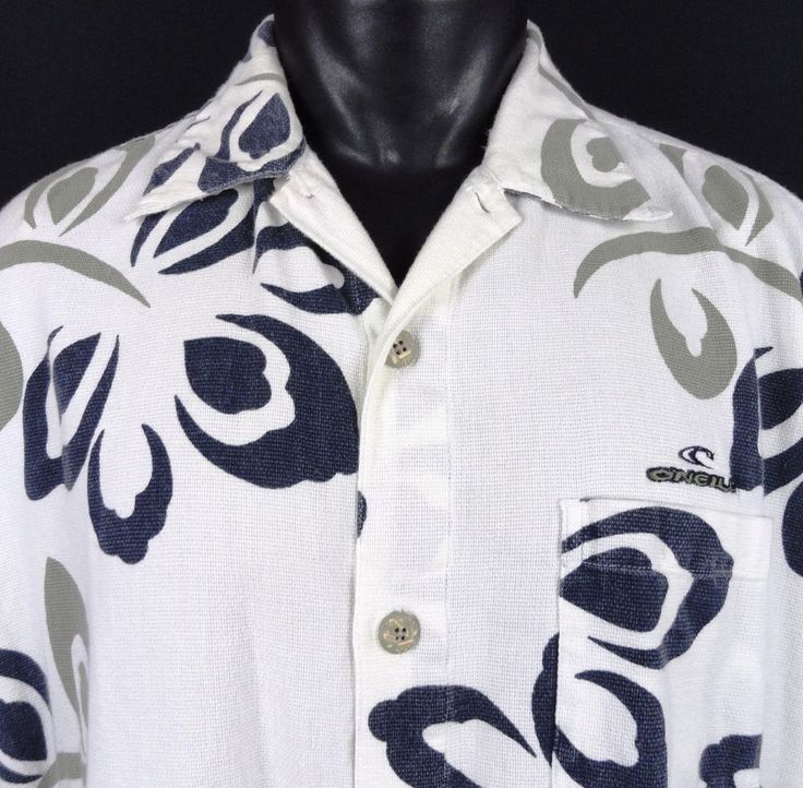 O'Neill Mens XL Hawaiian Aloha Shirt White Navy Blue Khaki Floral Wraparound SS #ONeill #Hawaiian