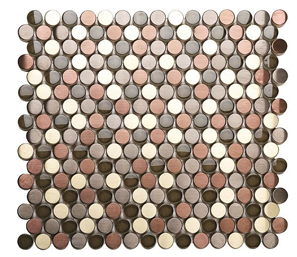 Penny rounds in bronze copper nickel backsplash heaven for Copper tile pennies