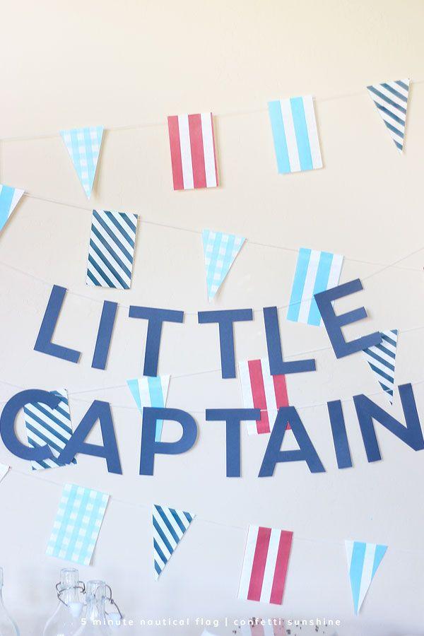 So easy! 5 minute nautical flags banner using paper treat bags. via confetti sunshine