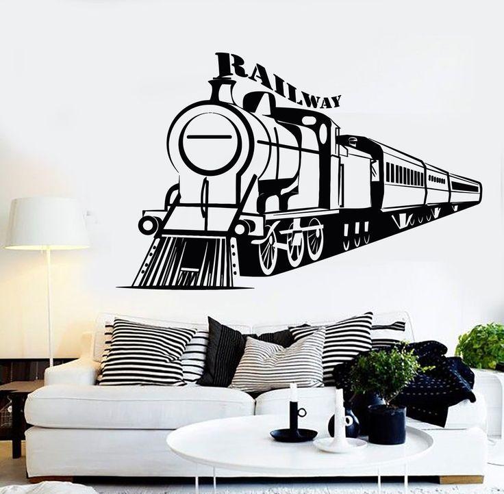 Vinyl Wall Decal Railway Train Boy Room Kids Art Stickers Mural Unique Gift (367ig)