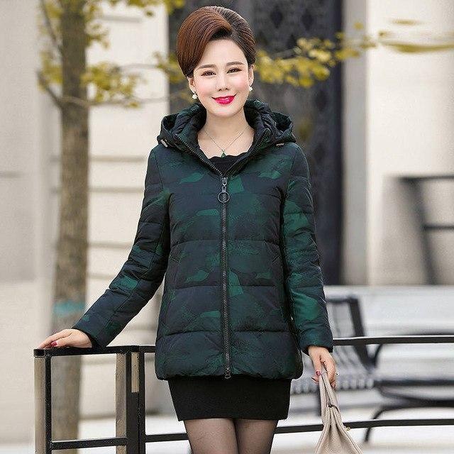 Middle-Gged Down Jacket Women Plus Size 6Xl Hoodies Camouflage Winter Coat Women Jacket Loose White Duck Down Women Parka C5071