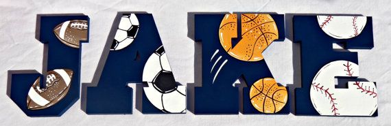 Sports Ball Collage Over Navy Painted Wall by TheFairyPaintbox