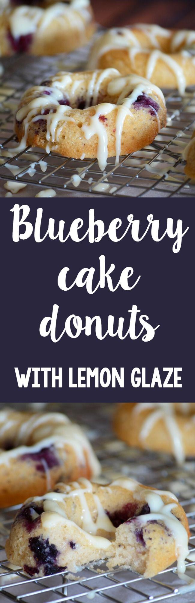 Blueberry cake donuts with lemon glaze