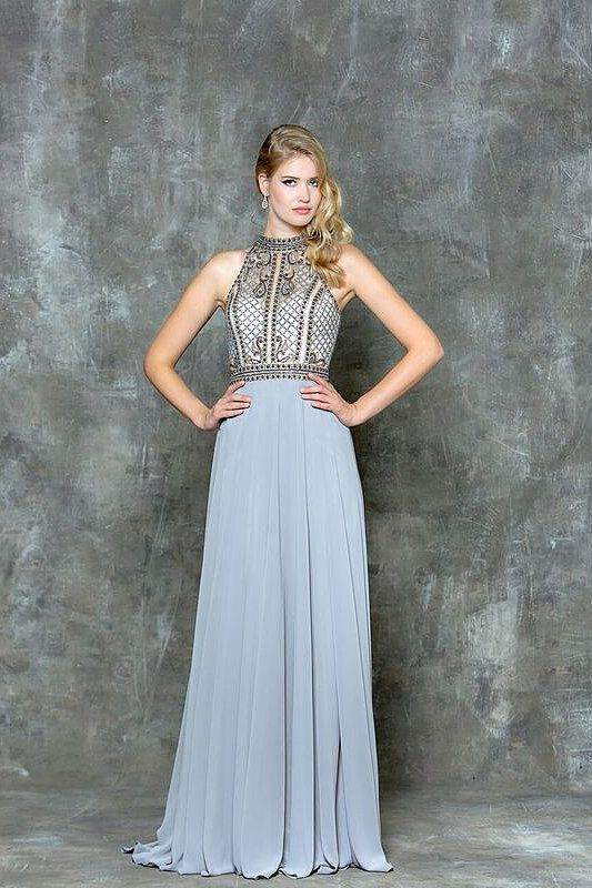 Chiffon Prom dress with beaded top. Find it at Moscatel Boutique