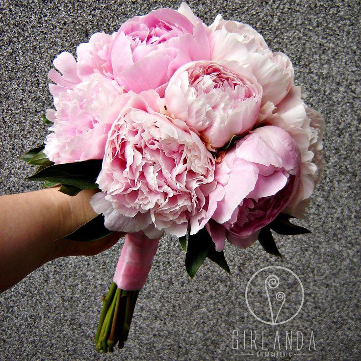 Wedding bouquet - rose quartz peonies <3