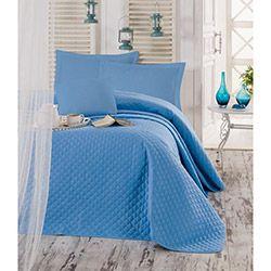 Eponj Home Ep-003471 Simple Çift Kişilik Yatak Örtüsü - Mavi