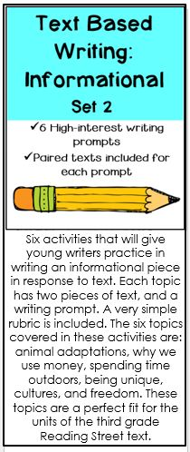 Six writing prompts with paired texts for each prompt from which students draw ideas for their writing.  Perfect for preparing your students for writing tests.  A simple rubric is included.