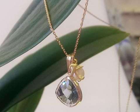 Bridesmaids Black Diamond Gem, Initial & Pearl Gold Pendant