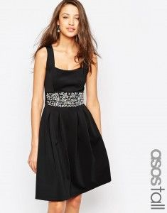 ASOS TALL Debutante Embellished Trim Full Midi Dress - Blue