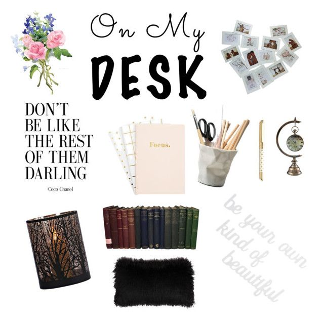 """#onthedesk"" by itstyrell on Polyvore featuring interior, interiors, interior design, home, home decor, interior decorating, ESSEY, Kate Spade, PBteen and onmydesk"