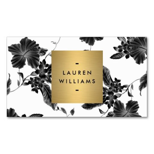 291 best spa business cards images on pinterest spa business cards elegant black floral pattern 4 with gold name logo double sided standard business cards reheart Choice Image