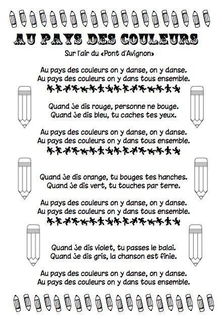 """Chanson """"Au pays des couleurs"""""""