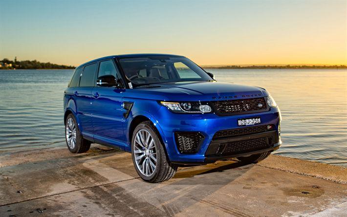 Download imagens Land Rover, O Range Rover Sport, 2017, Azul SUV, carros de luxo
