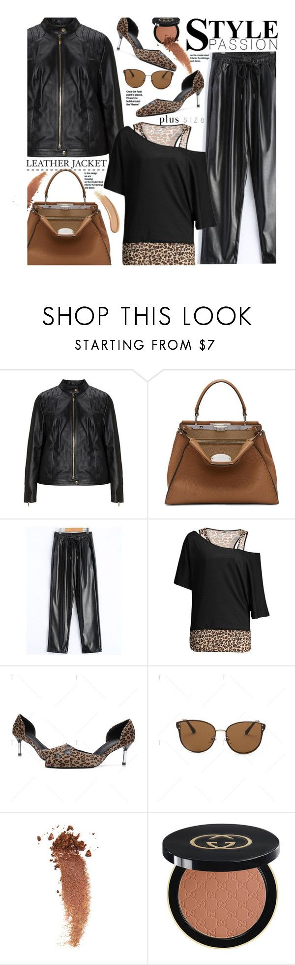 """""""Street Chic (plus size)"""" by beebeely-look ❤ liked on Polyvore featuring Jette, Fendi, Gucci, leatherpants, plussize, streetwear, StreetChic and twinkledeals"""