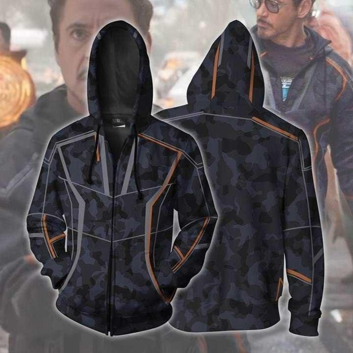 Hot Avengers Infinity War Tony Stark Zip Hoodie Pullover Coat Men Sweatshirt New