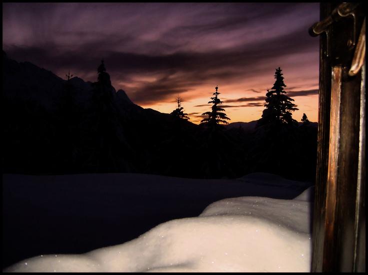 Winter Sunset, Snow, Italian Alps, Windowview