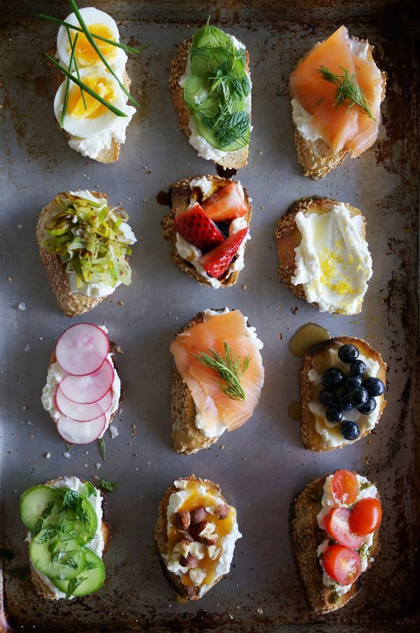 Simple ricotta crostinis for your next dinner party using ingredients from your garden: cherry tomatoes, radish, basil, mint, dill and chives.