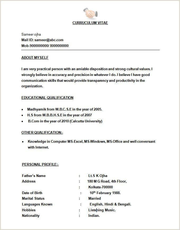 Fresher Resume Format For Biotechnology Microsoft Word Resume Template Resume Format Job Resume Format