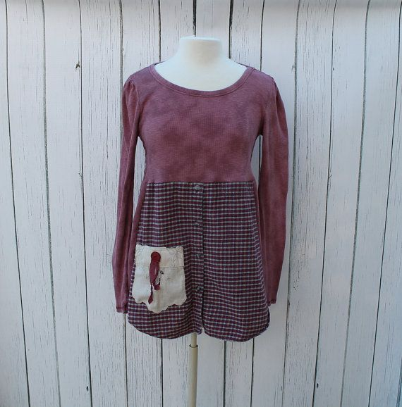 Upcycled Tunic / Mauve Women's Clothing / Altered Couture ...
