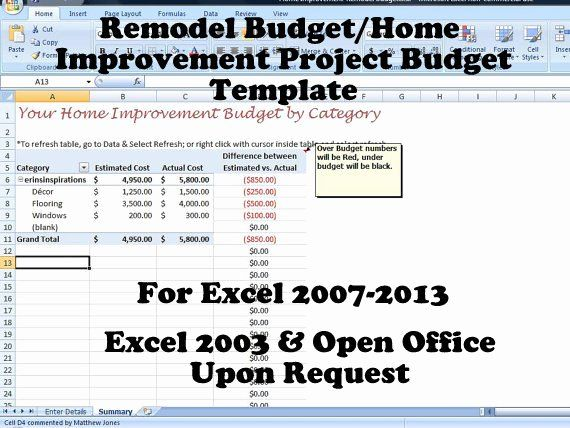 Home Renovation Project Plan Template Excel Luxury Remodel Bud Improvement Project Bud Template For Home Budget Remodel Renovation Project How To Plan