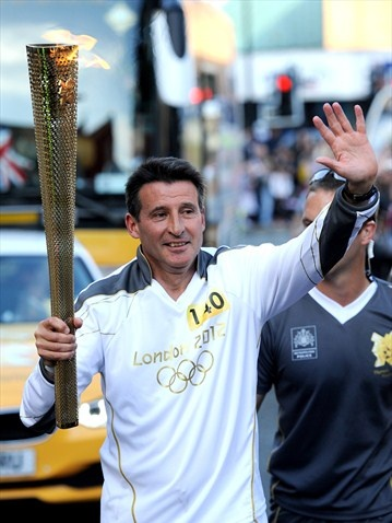 Sebastian Coe carries the Olympic Flame