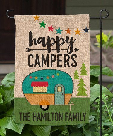 Loving this 'Happy Campers' Personalized Burlap Outdoor Flag on #zulily! #zulilyfinds