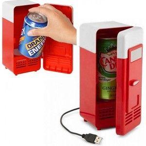 Gezien op beslist.nl: USB Mini Koelkast Blikjes koeler voor Laptop PC Rood