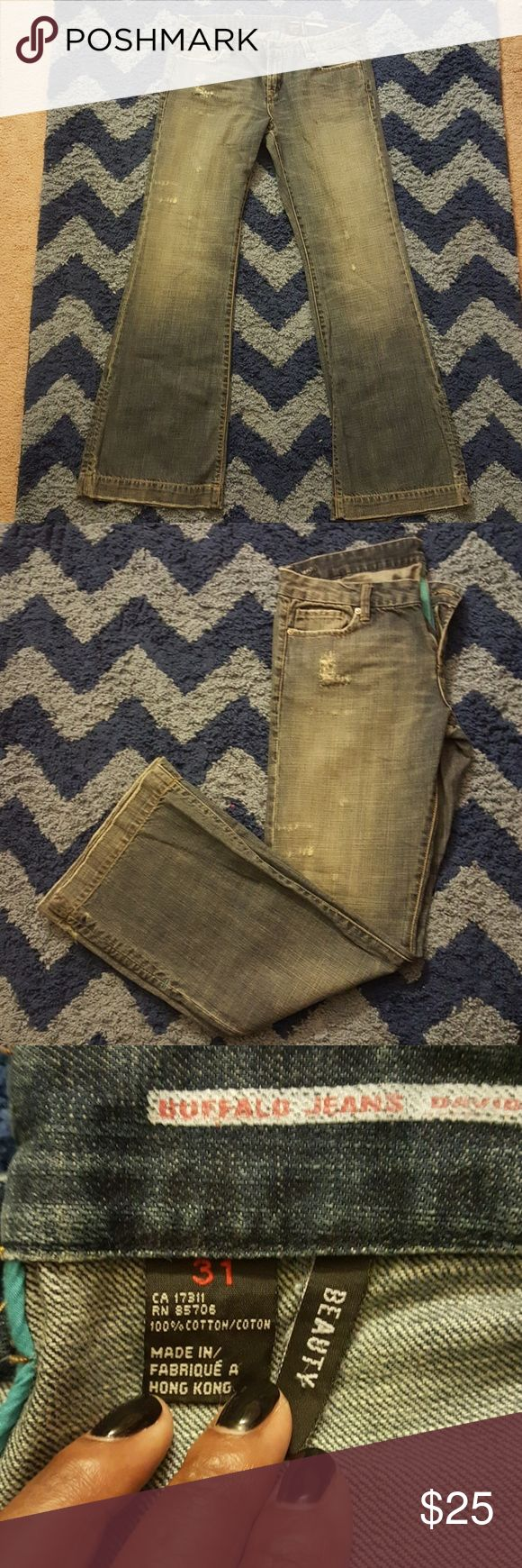 Buffalo Distressed Jeans Blue Distressed Buffalo Jeans 31 Waist 32 Inseam Buffalo David Bitton Jeans Flare & Wide Leg