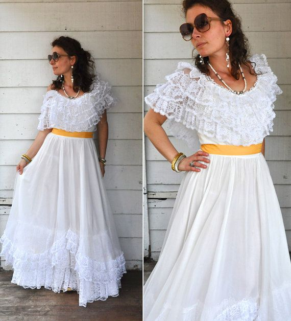 70s Tiered White Lace Maxi Dress // Over the by LaDeaDeiSogni, $98.00