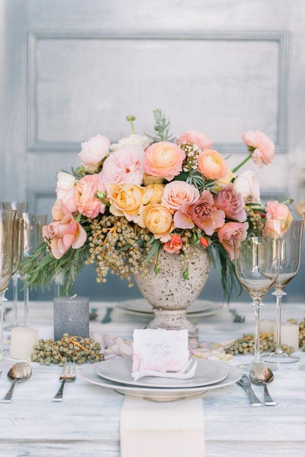 Coral, Peach, and Mauve Centerpiece with Neutral Table Decor | Lizelle Goussard Photography on @heyweddinglady via @aislesociety
