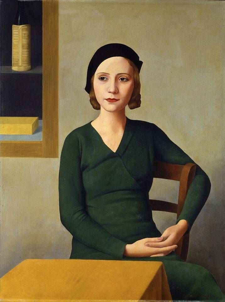 """Antonio Donghi  (1897-1963)   """" Woman at the Cafe."""" """