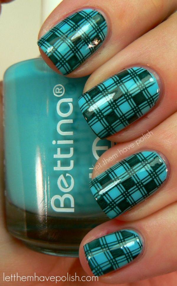 Checkered Nail Stamping nail design