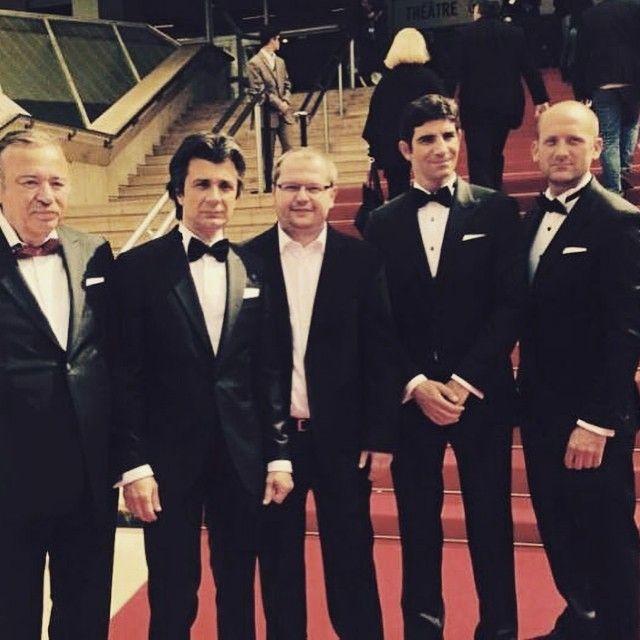 Pic from #Cannes2015 red carpet: actors Toma Cuzin, Adrian Purcareacu, Mircea Tudor and Corneliu Cozmei looking dapper in Tudor. Personal Tailor tuxedos