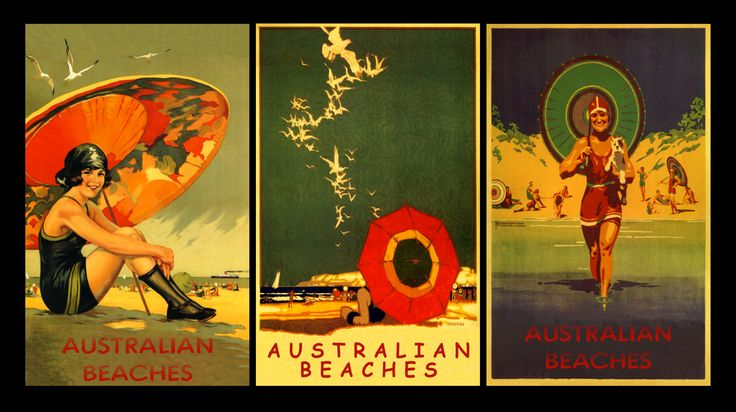 Vintage Australian Beaches Posters Prnted on a Canvas Board.
