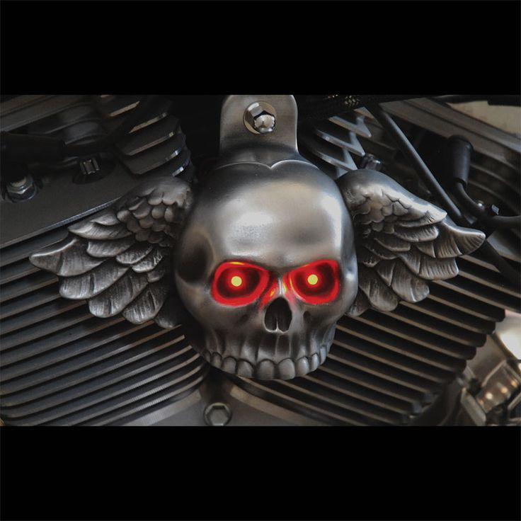 Winged Skull in aged aluminum with lighted eyes. SKU-WAL-1 [SKU-WAL-1] - $165.00 : Chrome Dome Motorcycle Products, Trick out your scooter!