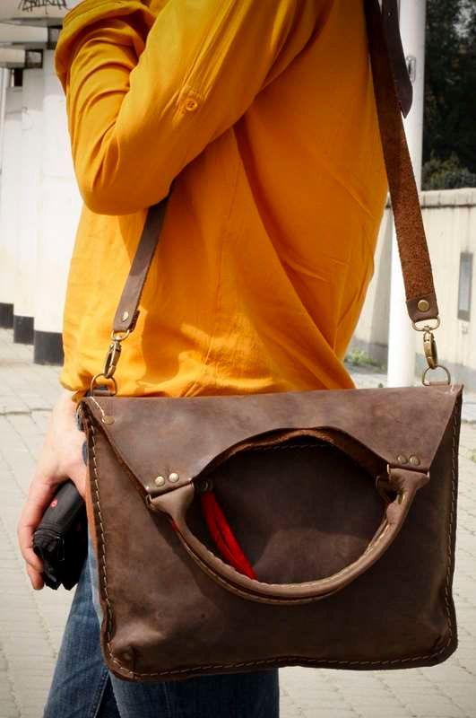 Bruin lederen tote elke dag tote tas