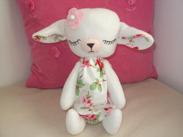 Cute Handmade Baby Lamb with Cath Kidston Rosali fabric dress