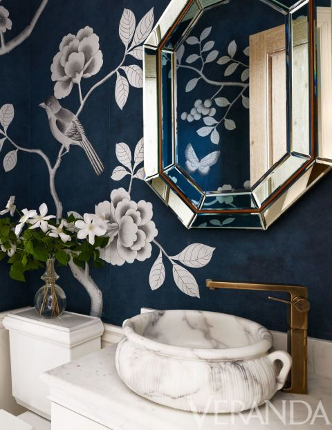 Chinoiserie Chic: The Chinoiserie Powder Room.    Alessandra Branca - Veranda The wallpaper is Fromental.
