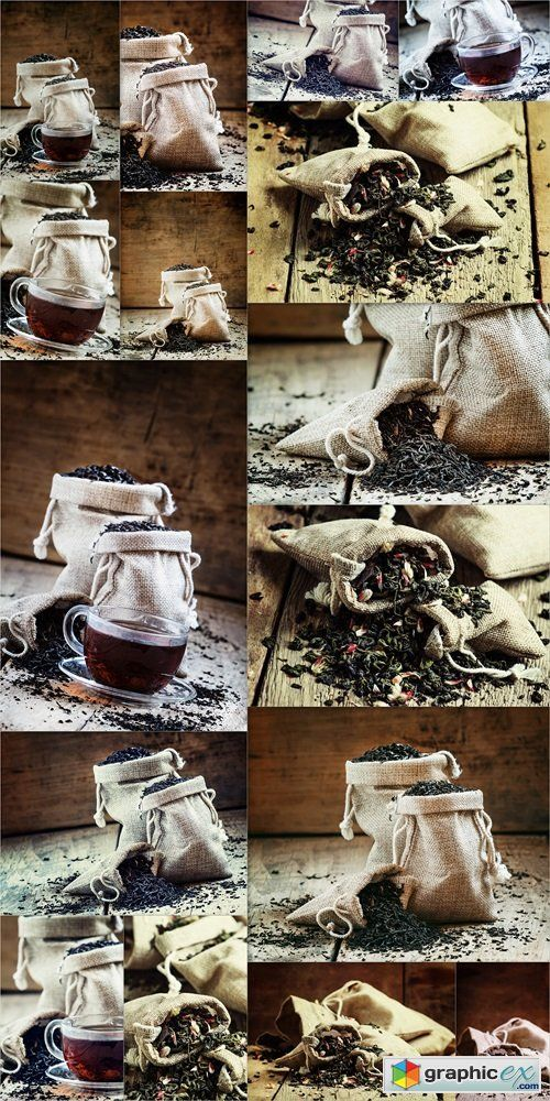 Dry green tea with flower petals in canvas bags, vintage wood bar