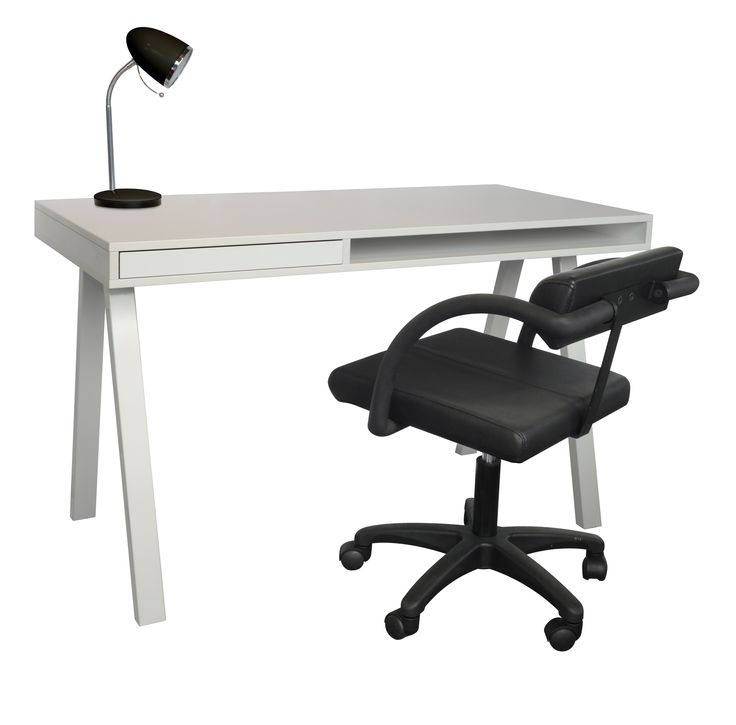 A Desk in White melamine shown with Cyber chair. Designed and made in Melbourne.  www.aerodesigns.com.au