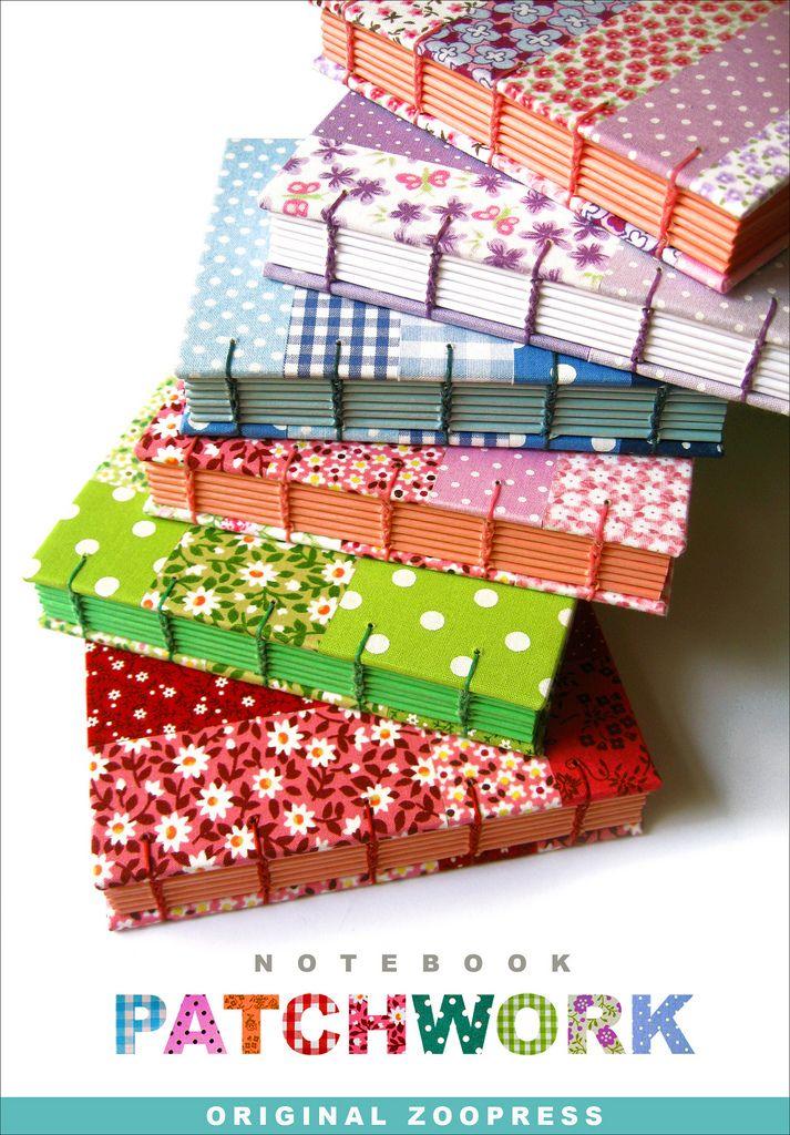 Capas únicas com design exclusivo Zoopress em patchwork de tecidos 100% algodão. Centenas de combinações diferentes. Dois tamanhos: Pequeno: 12,5 x 9 cm Médio: 16,5 x 12 cm