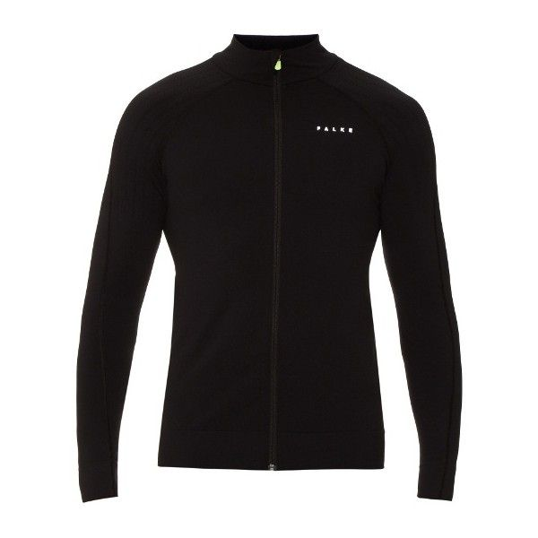 Falke Comfort performance running jacket ($120) ❤ liked on Polyvore featuring men's fashion, men's clothing, men's activewear, men's activewear jackets and falke