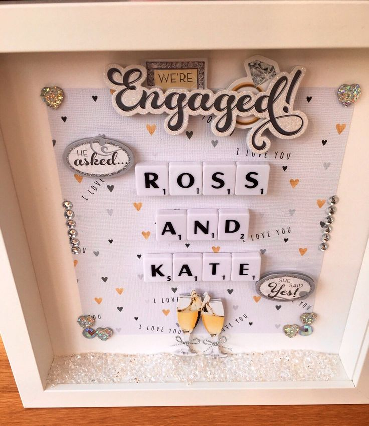 A personal favourite from my Etsy shop https://www.etsy.com/uk/listing/486302709/personalised-engagement-frame-engagement