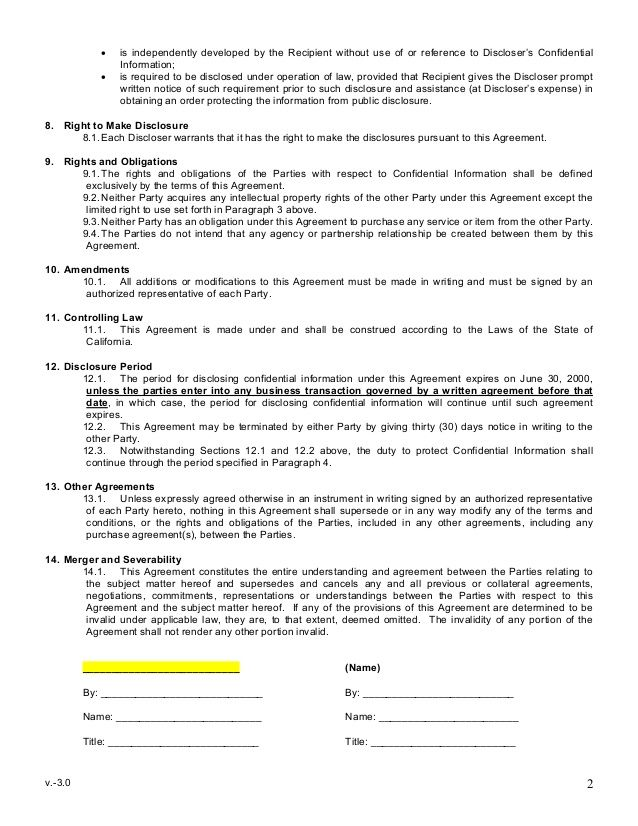 Elegant Printable Sample Non Disclosure Agreement Sample Form