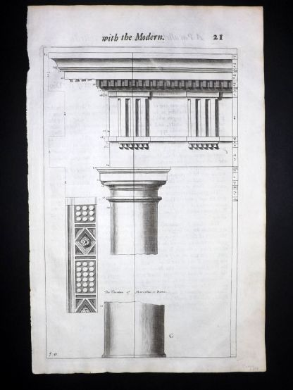 Freart 1723 Folio Architecture Print. Columns 21
