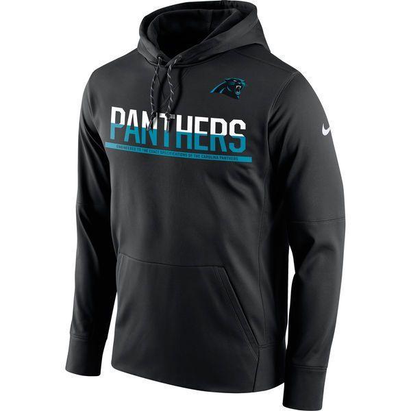 Men's Carolina Panthers Nike Black Sideline Circuit Pullover Performance Hoodie