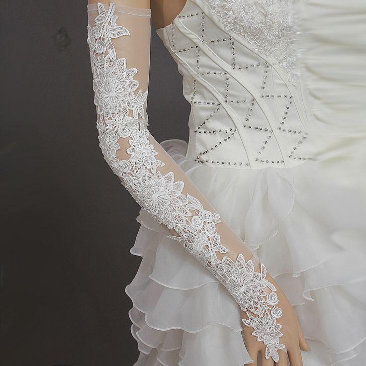 Nova lindo sexy lace branco sem dedos luvas de casamento de gaze / luvas nupcial em Luvas para Noiva de Casamentos e Eventos no AliExpress.com | Alibaba Group
