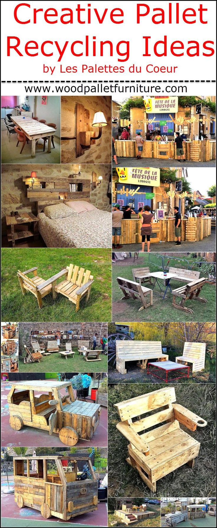 We are here to assist those who are looking for unique ideas to create the products for the home decoration and we have a collection of items made by Les Palettes du Coeur. Wood pallets are useful in creating small as well as huge items; just the idea should be innovative to grab the attention of others.
