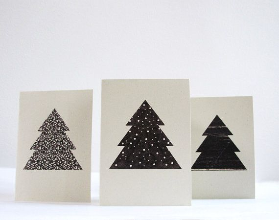 Set of 3 christmas tree cards  lines dots  by 10antemeridiem, $10.00